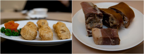 deep fried yam with lunar cake, salted pork bones for soup