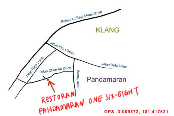 map to Restoran 168 at Pandamaran, Klang