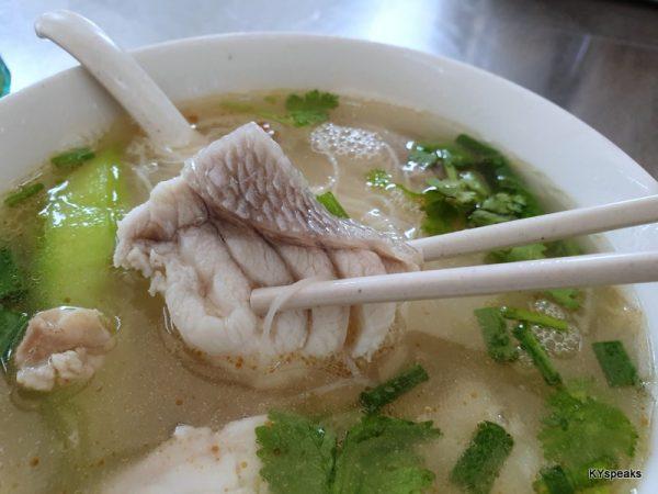 garupa fish meat noodle soup