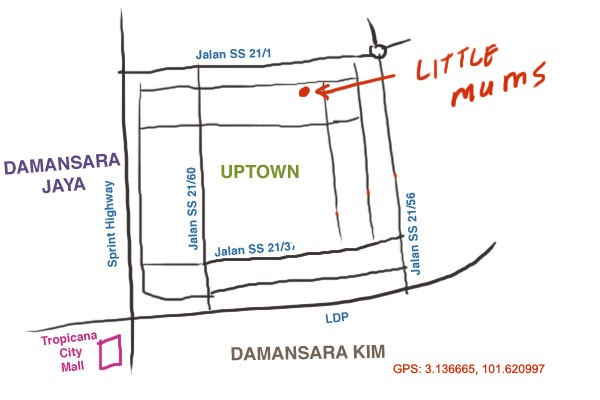map to little mums at damansara uptown
