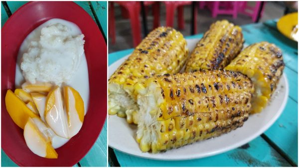 mango sticky rice & the excellent bbq corn