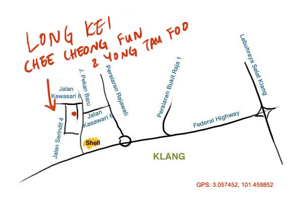 map to Long Kei yong tau foo and chee cheong fun, Klang