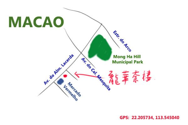 map to Long Wah Tea House, Macao