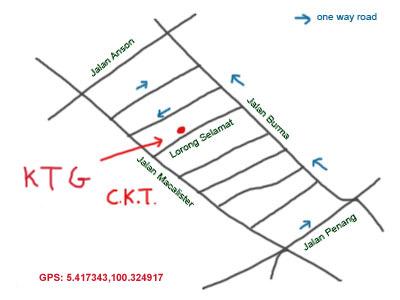 map to Lorong Selamat, Penang