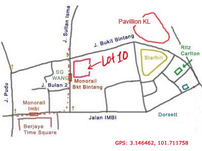 map to Lot 10 Hutong