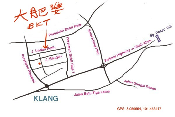 map to LYL bak kut teh at Taman Berkeley