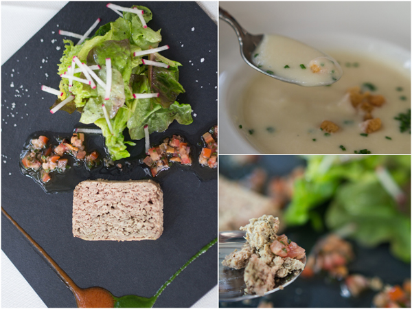 duck pate, home-made mushroom soup