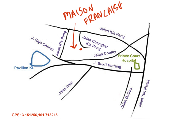 map to Maison Franciaise at Changkat Kia Peng