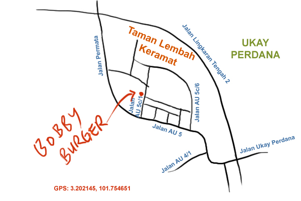 map to Bobby Burger Simpang 3