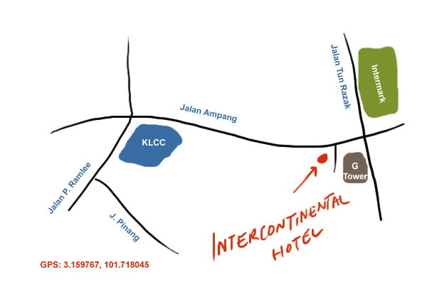 map to Intercontinental Hotel, KL