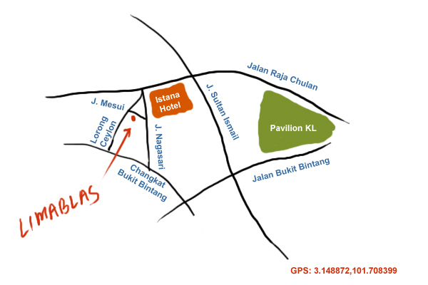 map to Lima Blas Peranakan cuisine at Jalan Mesui