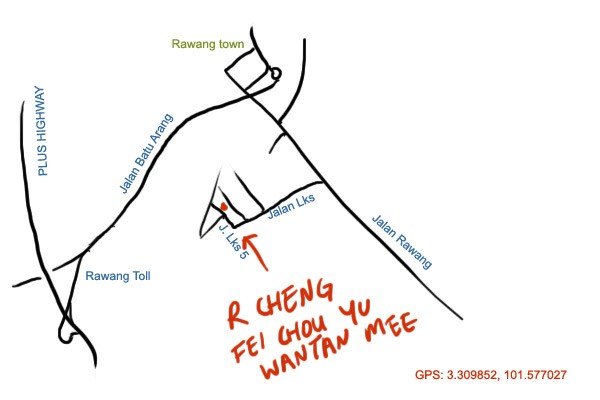 map to R Cheng Tilapia Wantan Mee, Rawang