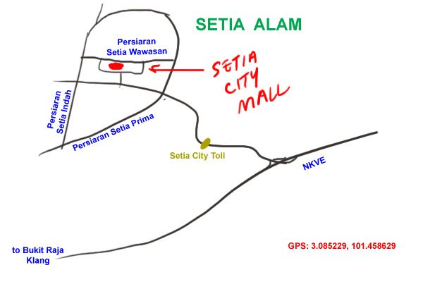 map to setia city mall, shah alam