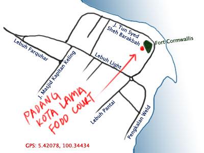 map to Padang Kota Lama, Penang