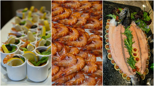 cold dishes include prawns, smoked salmon, cold cuts