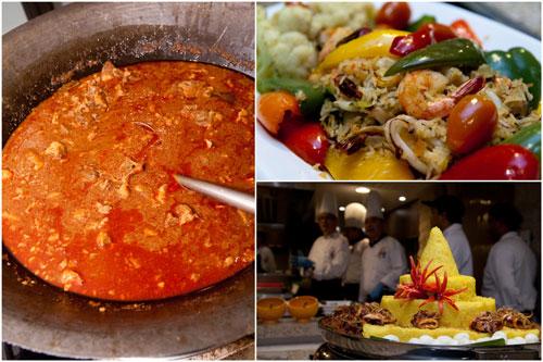 spicy ox tail soup, nasi beriyani, pulut kunyit