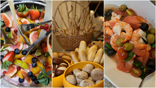 fruit basket, bread, seafood salad