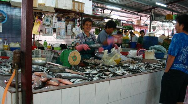 fish stall at wet market