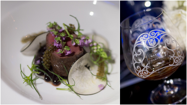 Venison with Black Turtle Beans, Dashi Emulsion and Black Radish; Martell Creation Grand Extra