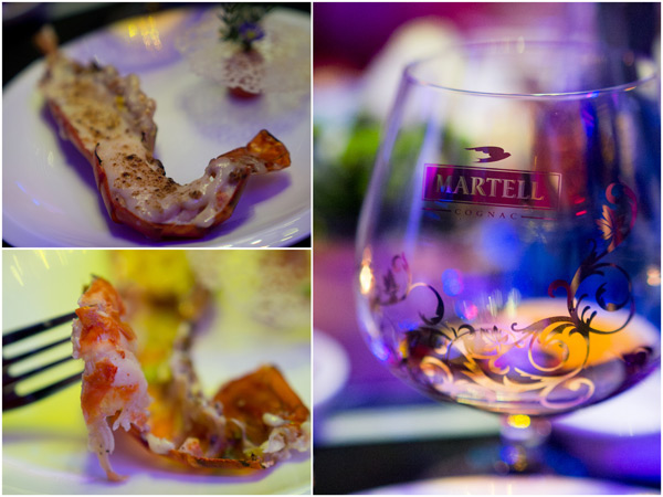 baked king prawn with cheese, paired with Martell Cordon Bleu