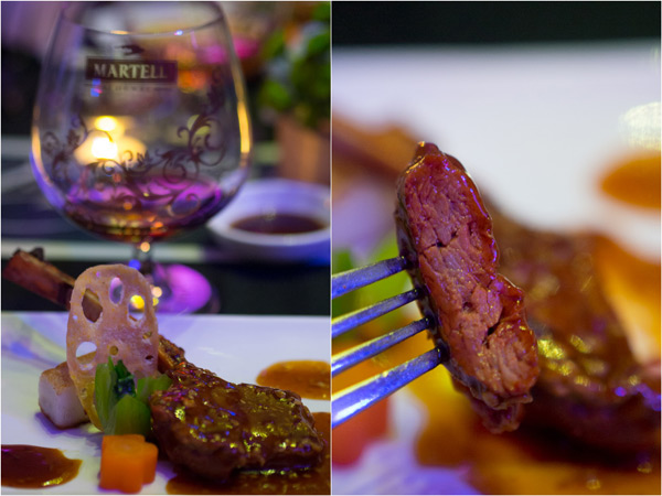 pan fried lamb cutlet with chef's special sauce, paired with Martell XO