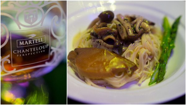 braised spaghetti with sliced abalone, black truffle n mushroom, Martell Chanteloup Perspective