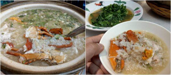 seafood porridge with crab and garupa fish