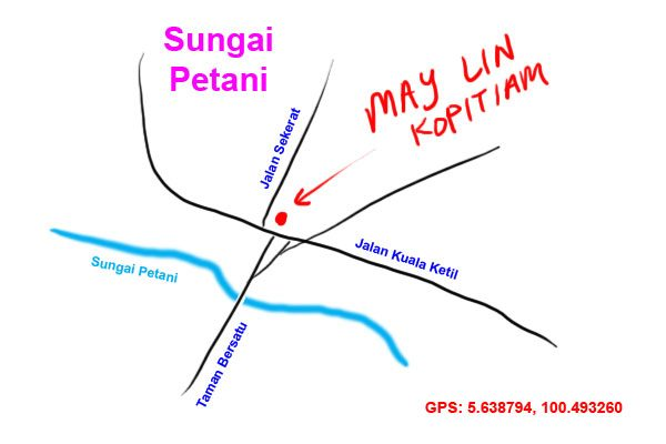 map to May Lin kopitiam, Sungai Petani