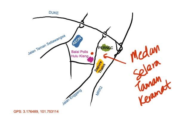 map to Medan Selera Taman Keramat