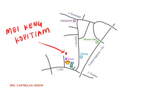 map to Mei Keng kopitiam