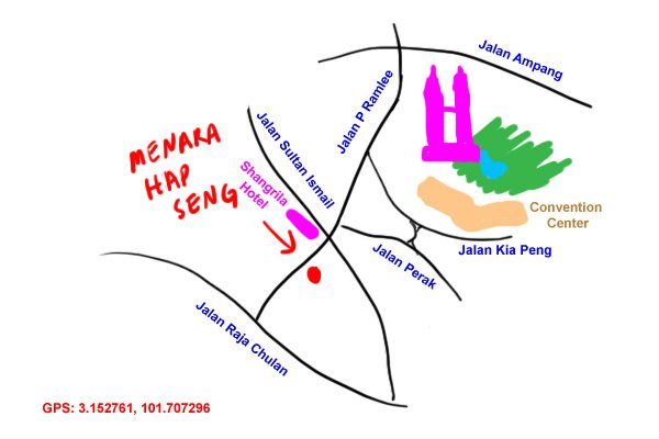 map to Menara Hap Seng