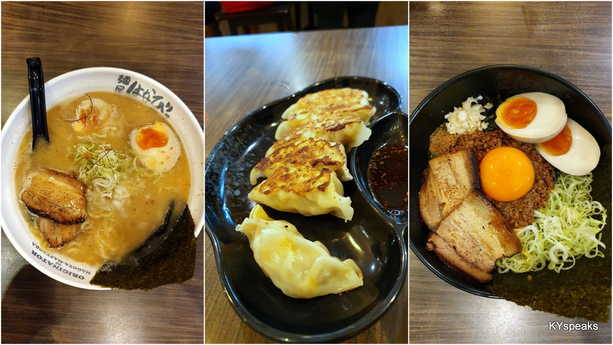 shoyu soup ramen, gyoza, Nagoya mazesoba