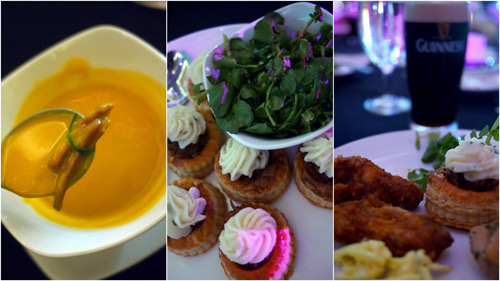 roast pumpkin soup with julienne smoked duck, Christmas pudding, BBQ wings