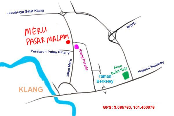 location of pasar malam meru
