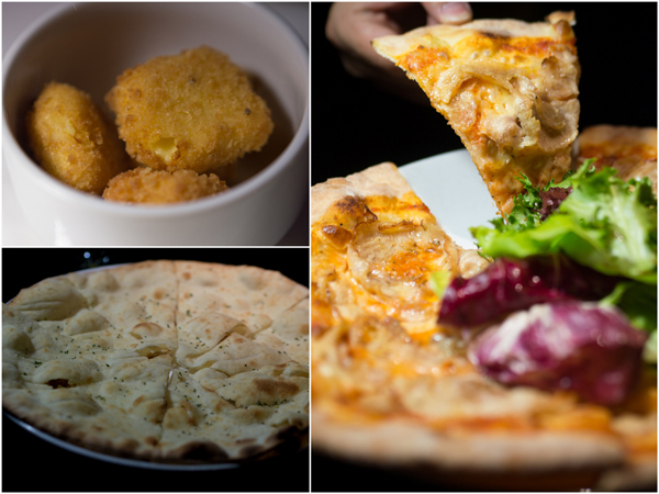 Potato & Ham Croquette, Crispy Foccacia, Porchetta Pizza