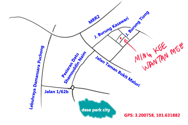 map to Ming Kee wantan mee, Taman Bukit Maluri