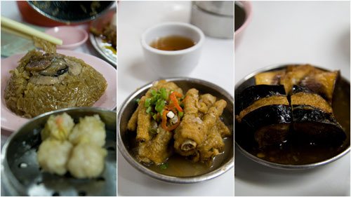glutinious rice, chicken feet, brinjal