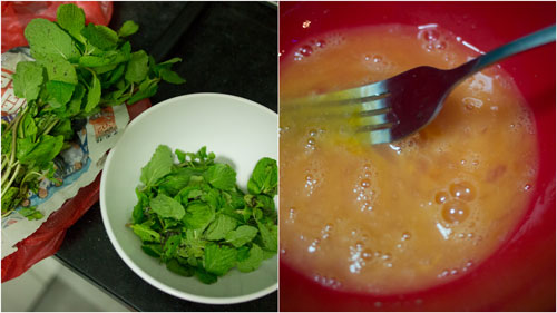 the two main ingredients - mint leaves and egg
