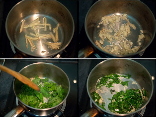 with some oil, fry ginger, garlic, then the mint leaves