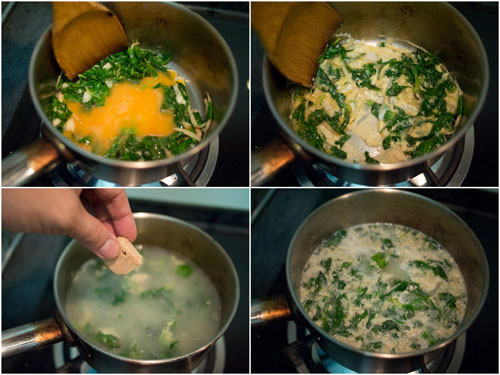 make a scramble egg, almost, then add water and chicken cube