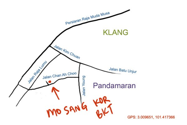 map to Mo Sang Kor bak kut teh, Pandamaran