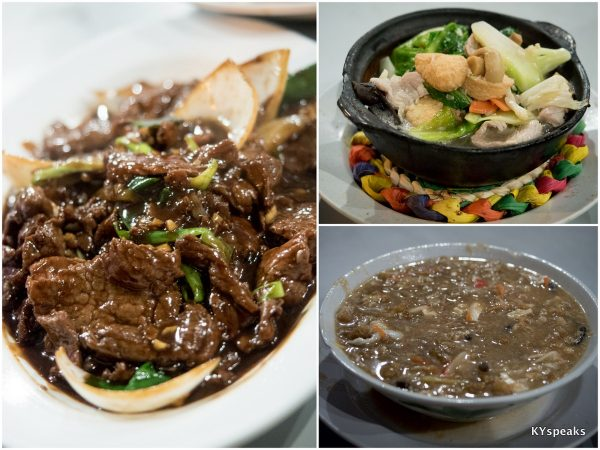 black pepper ostrich, clay pot beancurd, fish maw soup