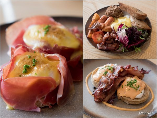 jamon serrano benedict, big breakfast, streaky bacon benedict