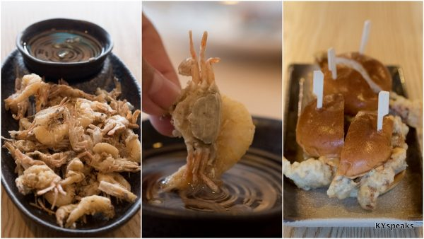 deep fried baby crabs & school prawns, tiger beer battered soft shell crab buns