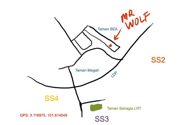 map to Mr. Wolf at Taman SEA