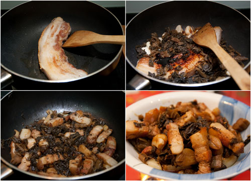steps in cooking mui choy pork