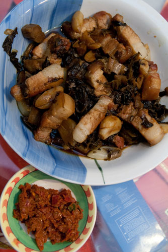mui choy pork goes well with sambal belacan