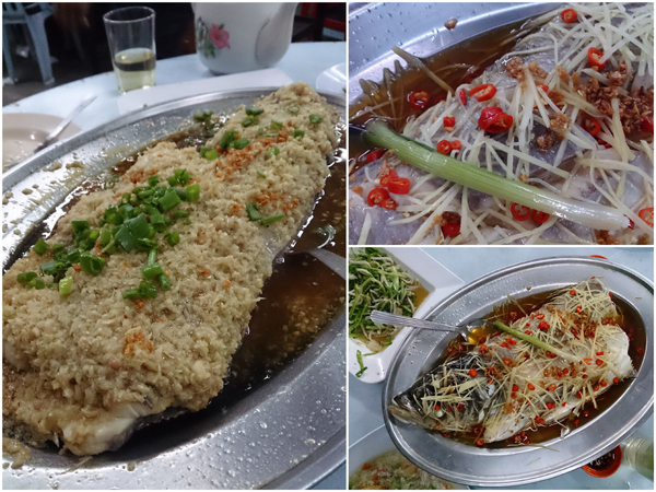 steamed fish head in two different styles