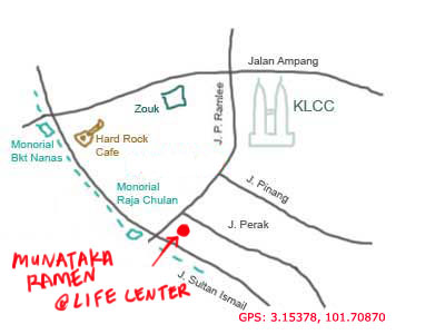 map to Munakata Japanese restaurant at Life Centre