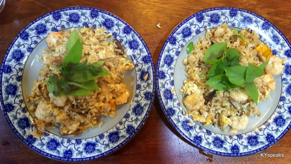 home cooked mushroom and prawn fried rice